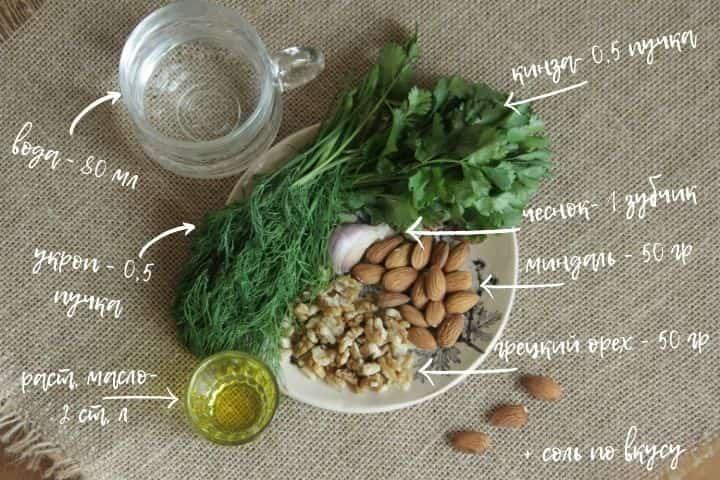 Соус с орехами и зеленью